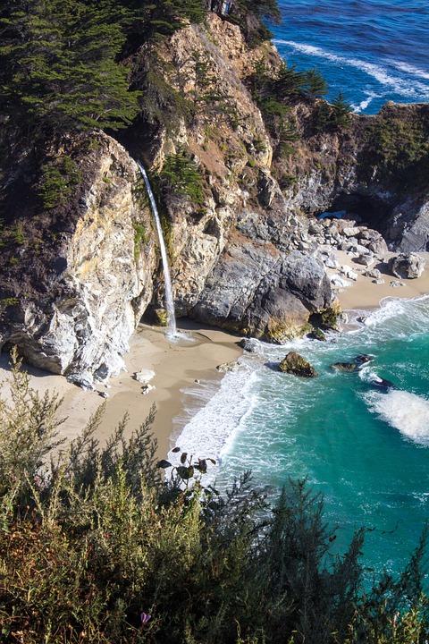 Beach, Waterfall, Coastal, California, West Coast, Sea