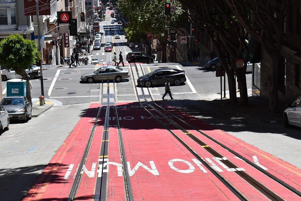 San Francisco, Road, Descent, Rails, Auto, California