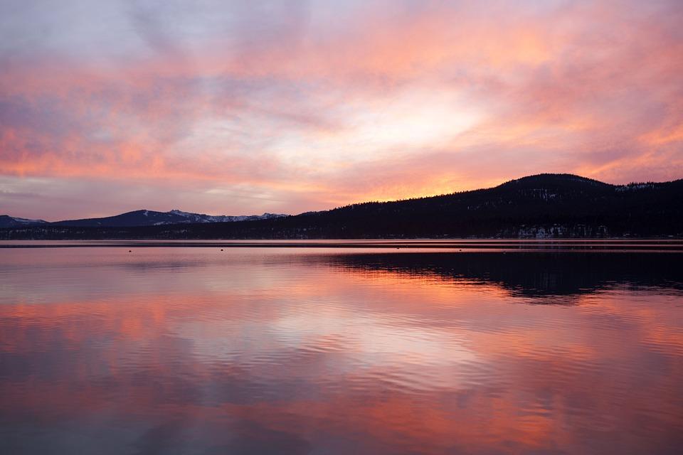 Sunset, Mountain, Lake, Evening, California, Sun