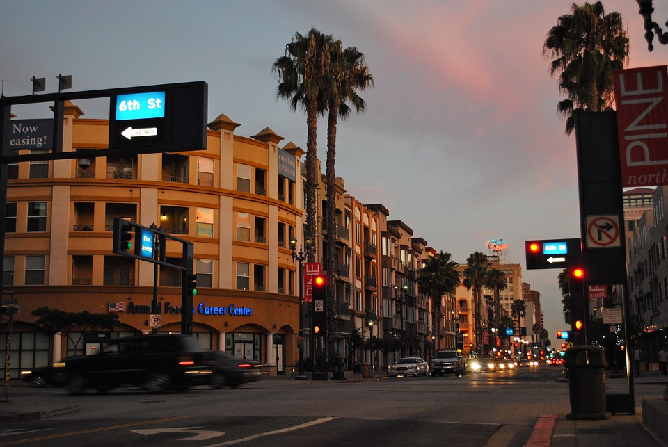 Long Beach, California, Urban Landscape, Sunset