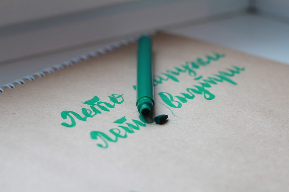 Calligraphy, Pen, Green