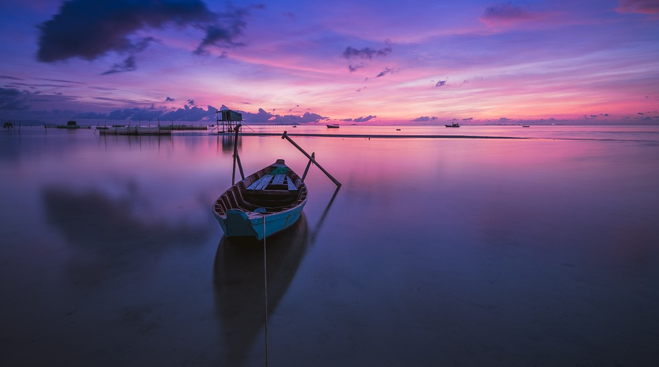 Sunrise, Boat, Rowing Boat, Nobody, Calm, Tranquil