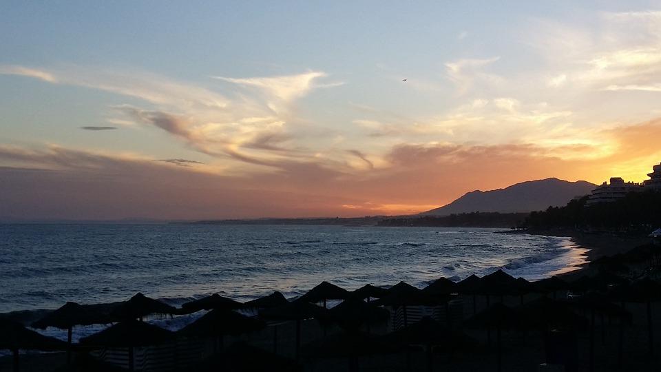Sunset, Sun, Calm Clouds, Beach, Mountains, Orange Sky
