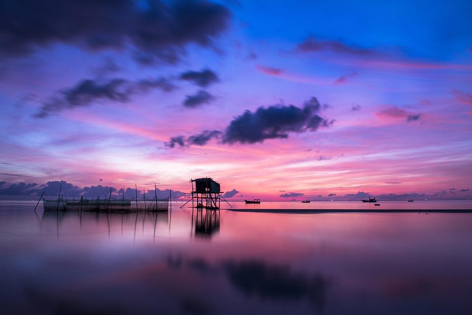 Sunrise, Sea, Calm, Tranquil, Blue, Lake, Water