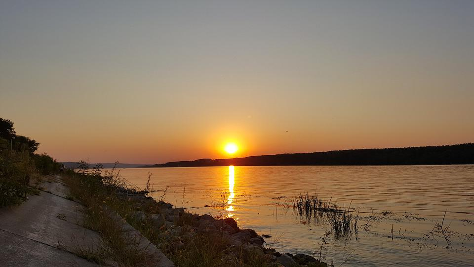 Sunset, Water, Serbia, The Danube, River, Calm, Summer