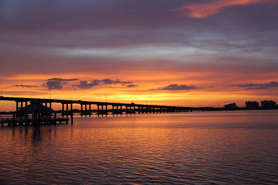Sunset, Florida, River, Bridge, Caloosahatchee, Orange