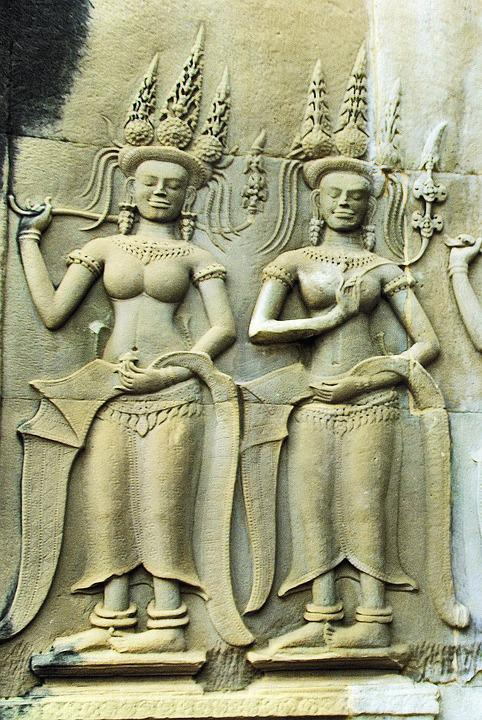 Cambodia, Angkor, Temple, Bayon, Sculpture, Dancers