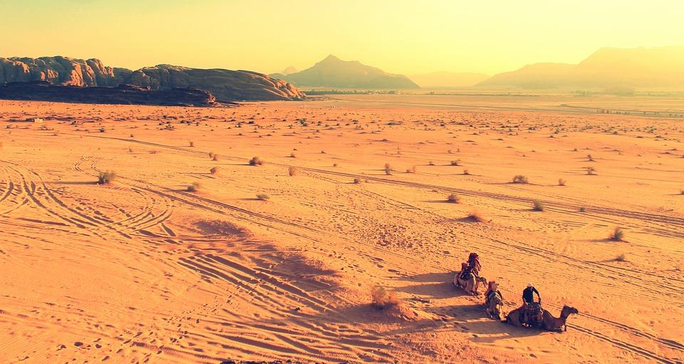 Camels, Desert, Cameleers, Sand, Barren