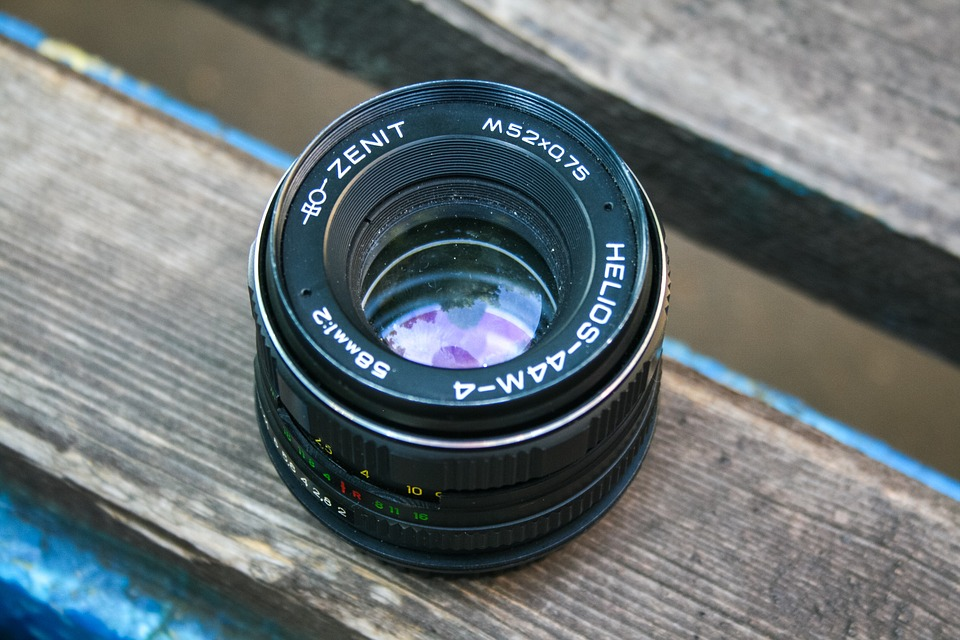 Camera, Lens, Photography, Black, Wooden, Table