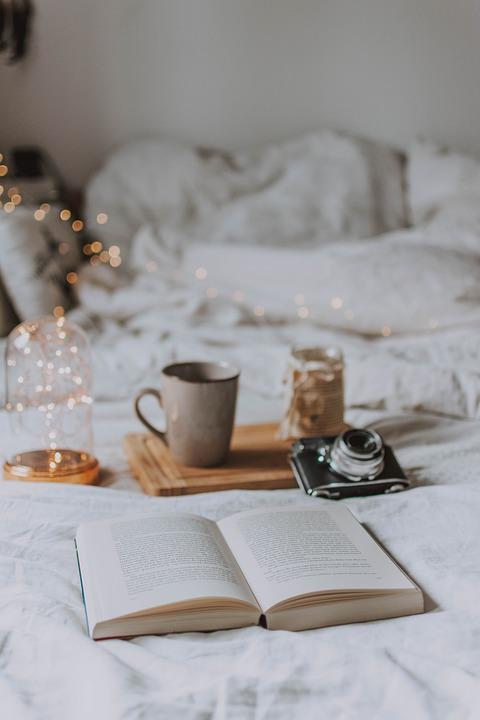 Camera, Book, Candle, Read, Cozy, Bed, Lamp, Bokeh