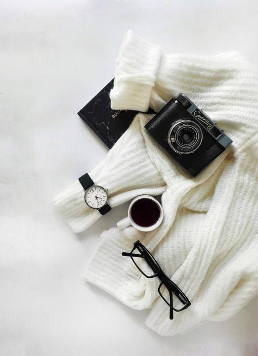 Black And White, Layout, Clock, Camera, Diary, Business