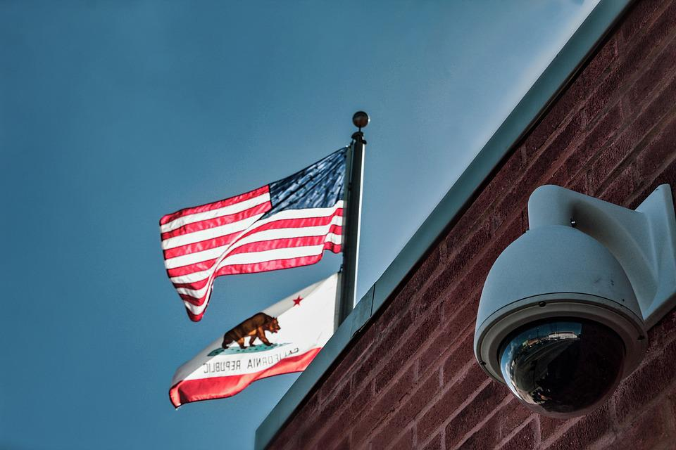 Flags, American, Californian, Surveillance, Camera