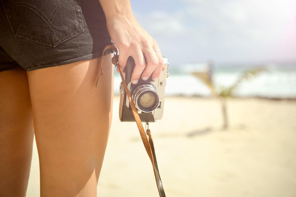 Girl, Camera, Vintage, Hand, Leg, Skin, Pants, Retro