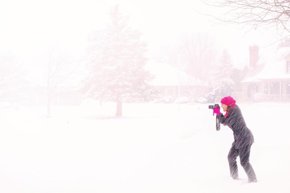 Photographer, Snowstorm, Snow, Winter, Camera, Hobby
