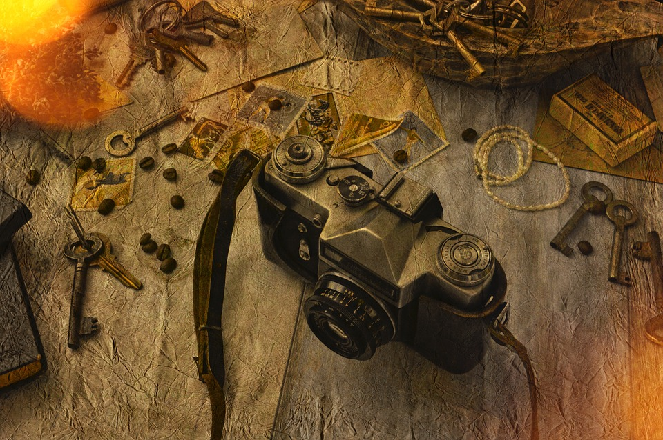 Old, Wood, Background, Rustik, Photo Montage, Camera