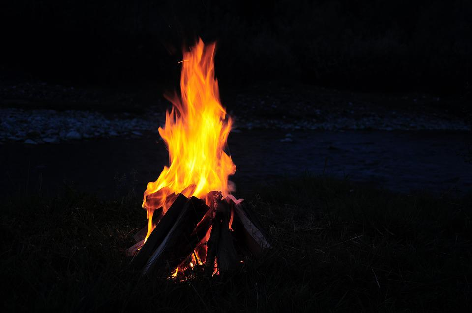 Camp, Campfire, Campfire At The Edge Of The River