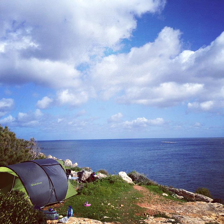 Camp, Tent, Sea, Sky, Camping, Nature, Outdoors