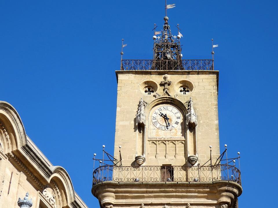 Aix-en-provence, Provence, Belfry, Campanile, Clock