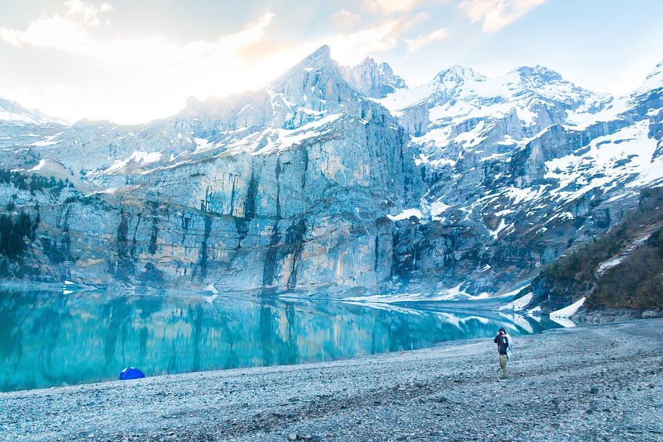 Camper, Bergsee, Alpine, Morning, Lake Oeschinen, Tent