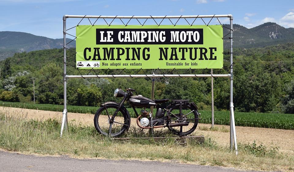 Motorcycle, Camping, Vintage, Retro, Camper