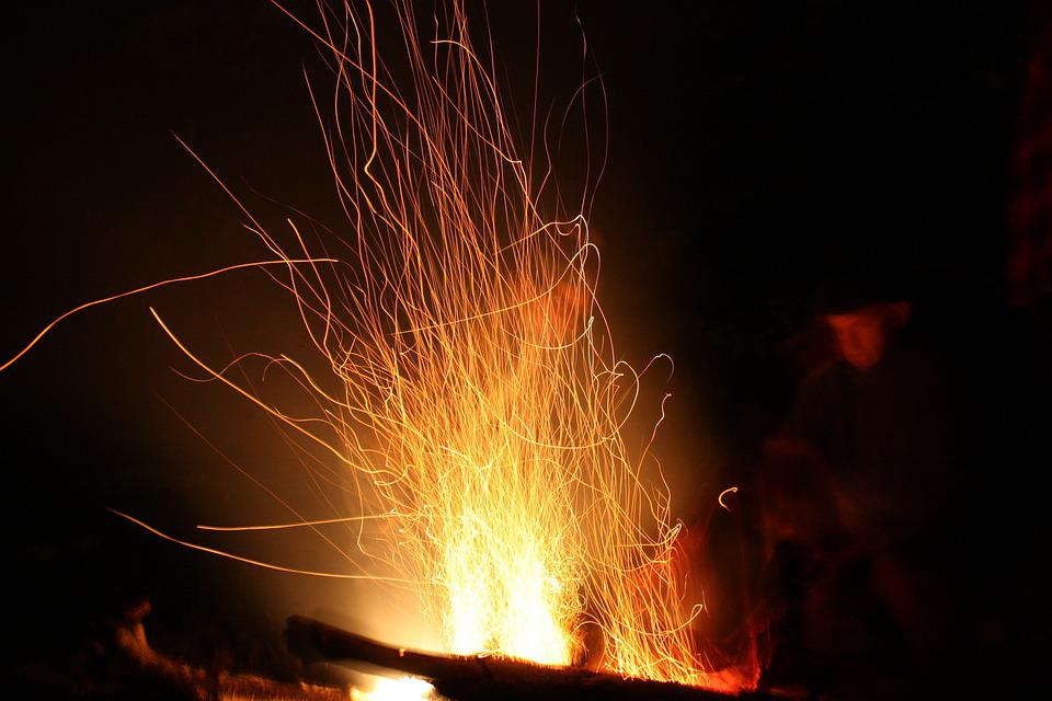 Flame, Hot, Sparks, Night, Blazing, Fiery, Campfire