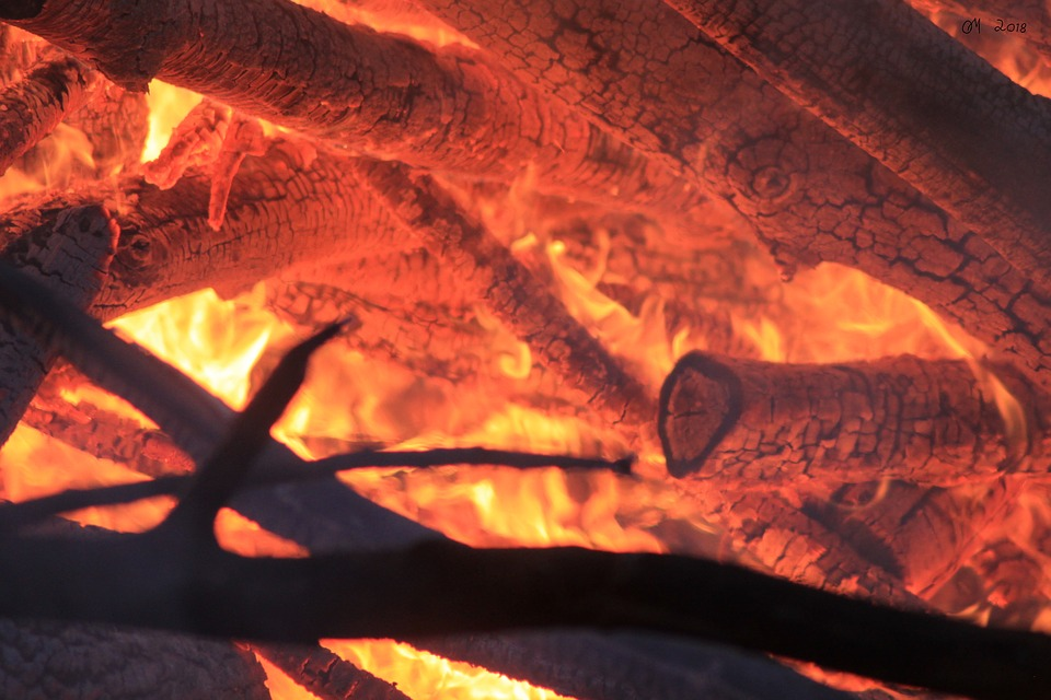 Burning, Glow, Hot, Wood, Campfire, Flame, Fireplace