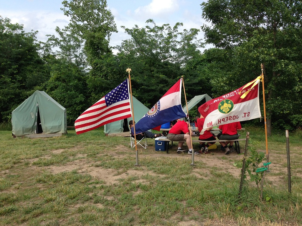 Camp, Tent, Flags, Camp Geiger, Summer, Camping