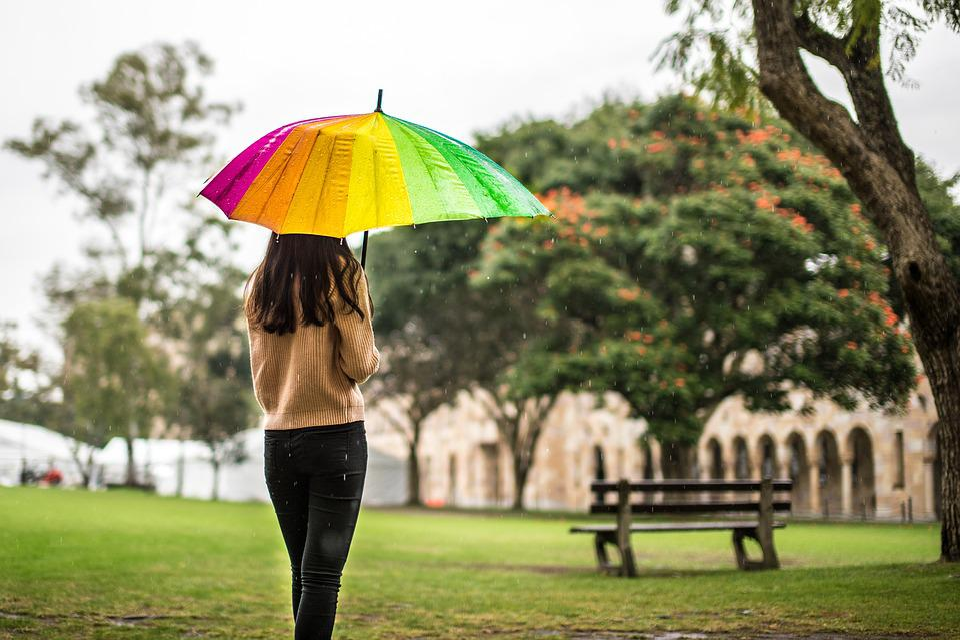 Rain, Umbrella, Girl, Melancholy, Campus, Bench