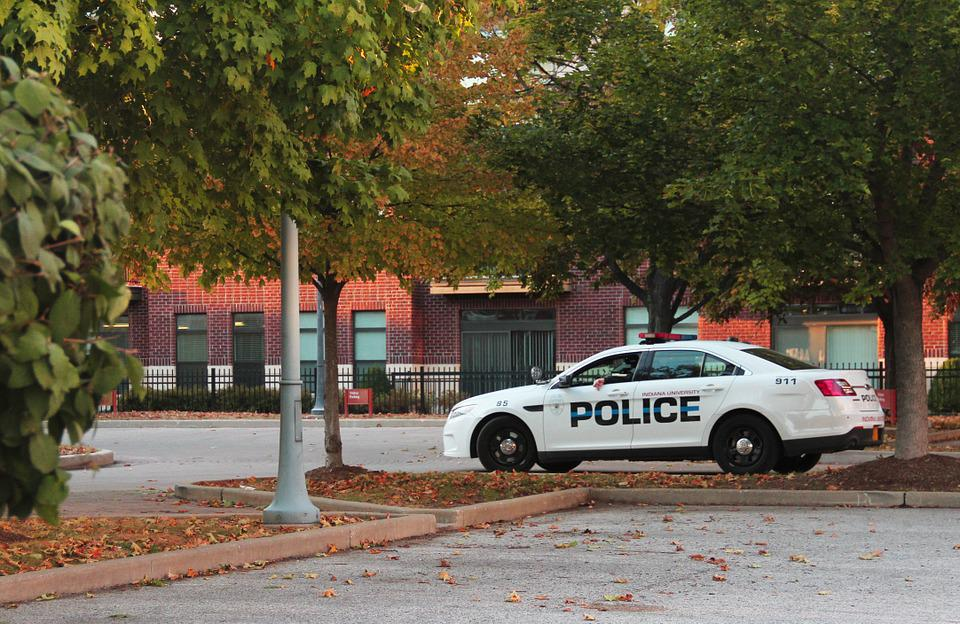 Police, Police Car, Fall, Campus Police, Fall On Campus