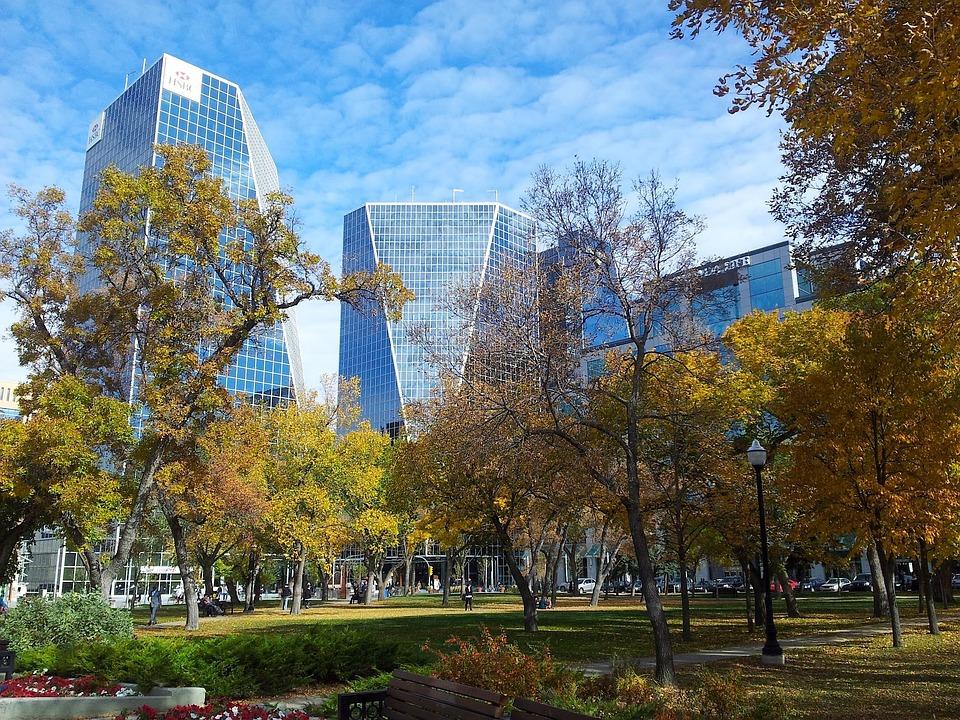 Regina, Canada, City, Urban, Park, Trees, Sky, Clouds