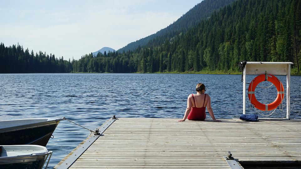 More, Canada, Swimmer, Laje, Pier, Woman, Sitting
