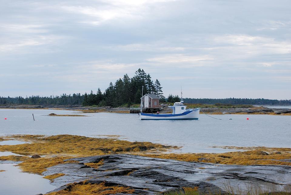 Nova Scotia, Boat, Fishing, Hut, Water, Ocean, Canada