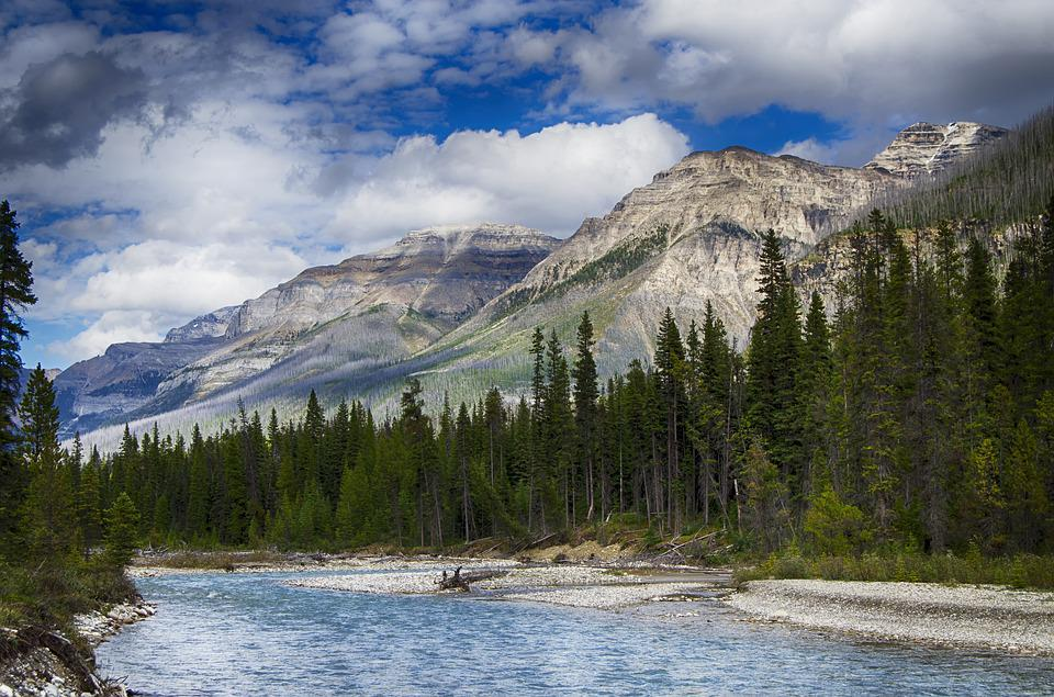 Mountains, River, Glacial Melt, Water, Canadian Rockies