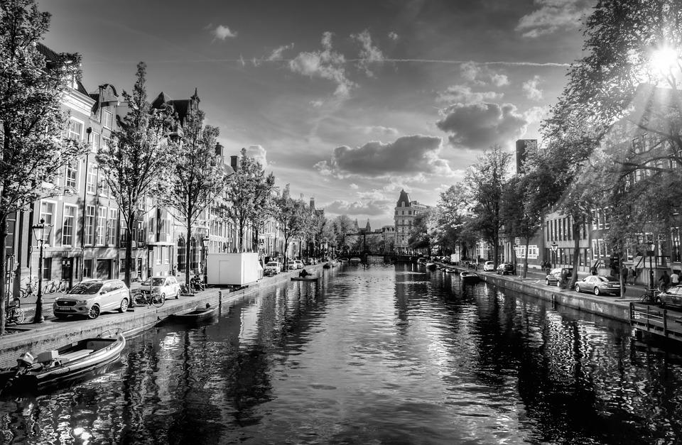 Amsterdam, Canal, Black And White, Sunny Day