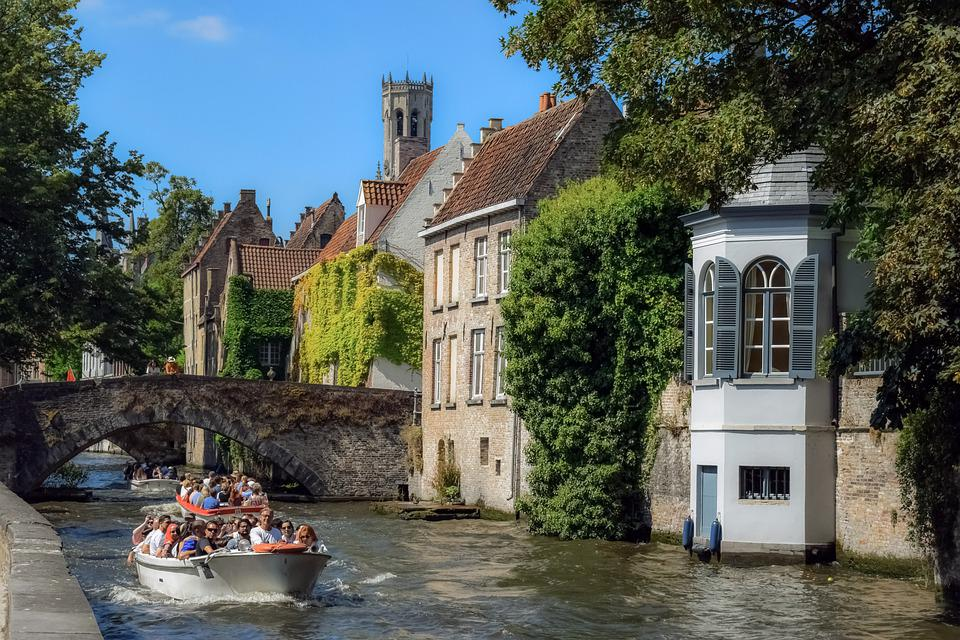 Belgium, Brugge, Canal, Boats, River, Bridge