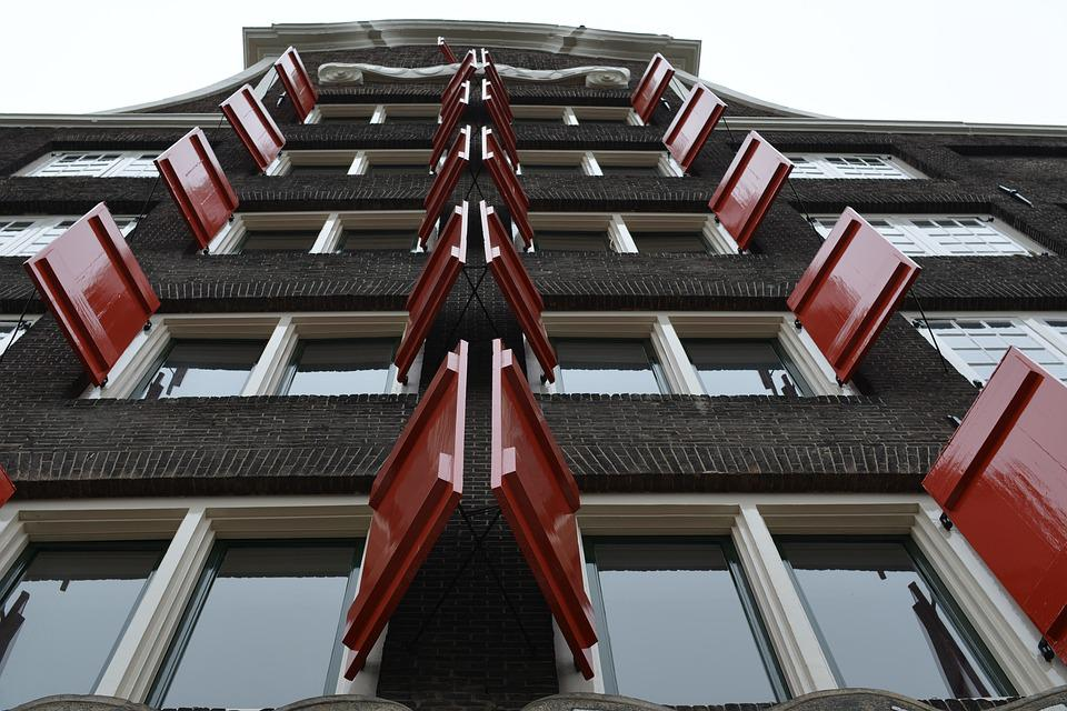 Shutters, Red, Dordrecht, House, Canal, Cityscape