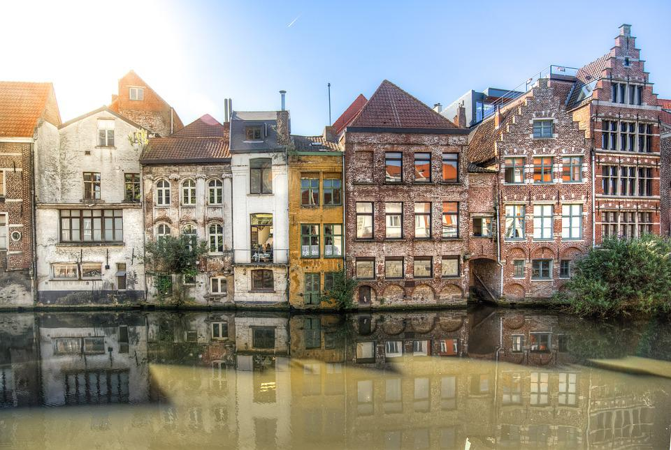 Ghent, Lei, Reflection, Water, Canal, Summer, Travel