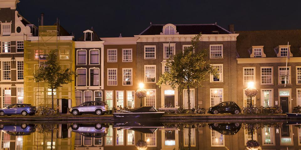 Holland, Suffering, Canal, Channel, Night, Architecture