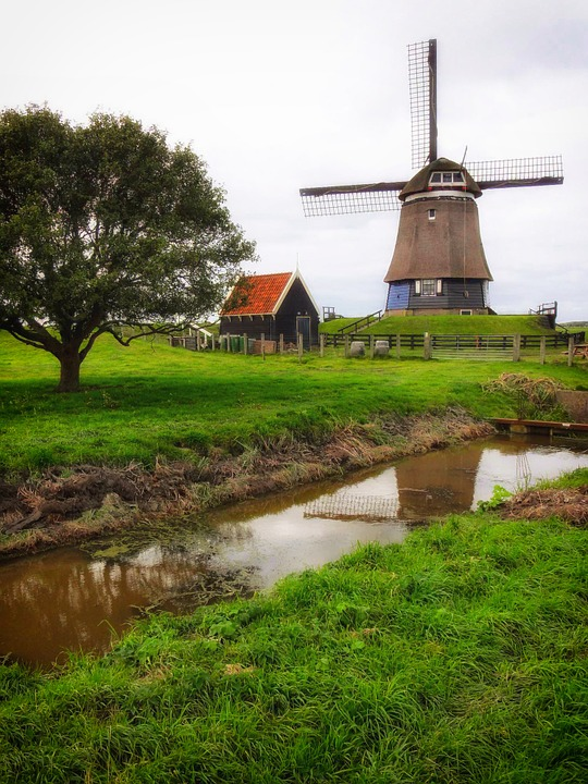 Netherlands, Windmill, Canal, Stream, Trees, Grass