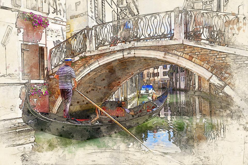 Gondola, Canal, Photo Art, Venice, Channel, Boat