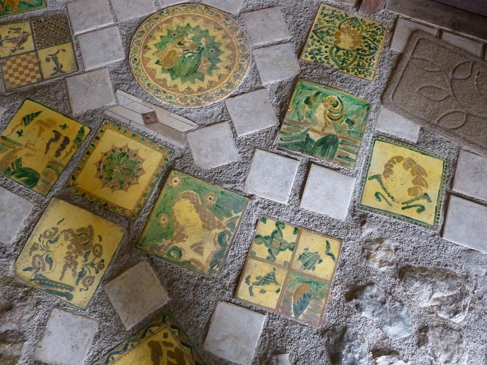 Mosaic, Flow, Tile, Medieval, Village, Canale Di Tenno