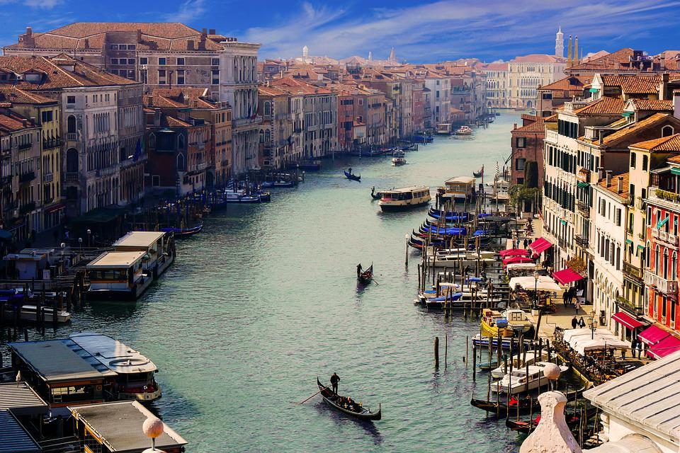 Venice, Canale Grande, Gondolier, City, Italy, Channel