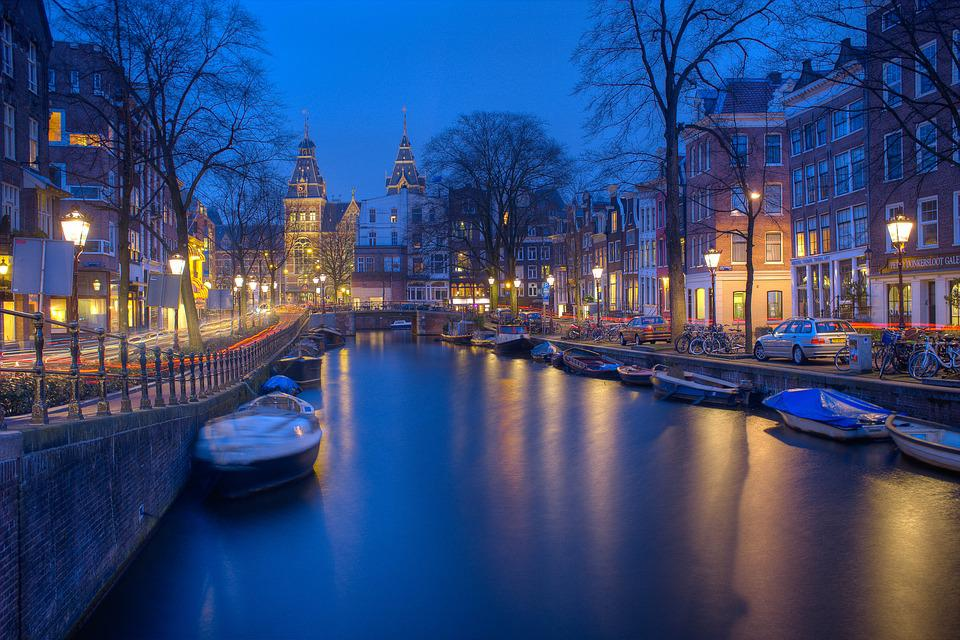 Amsterdam Night Canals Evening Wallpaper