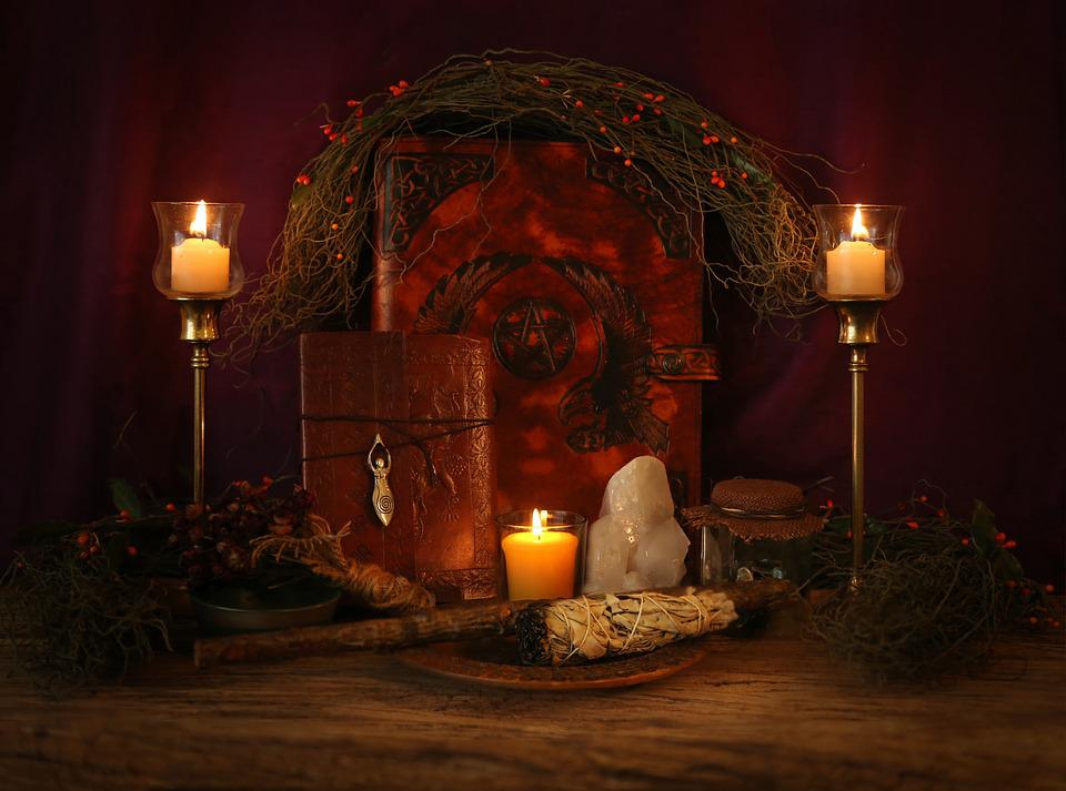 Candle, Illuminated, Light, Altar, Pagan, Wiccan, Magic