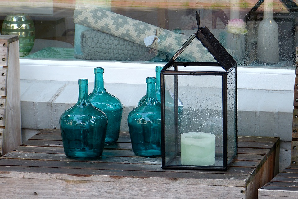 Deco, Green, Bottles, Candle, Decoration