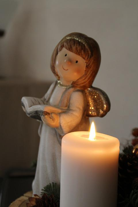 Angel, Christmas, Candle, Figure, Fishing Rod, Advent