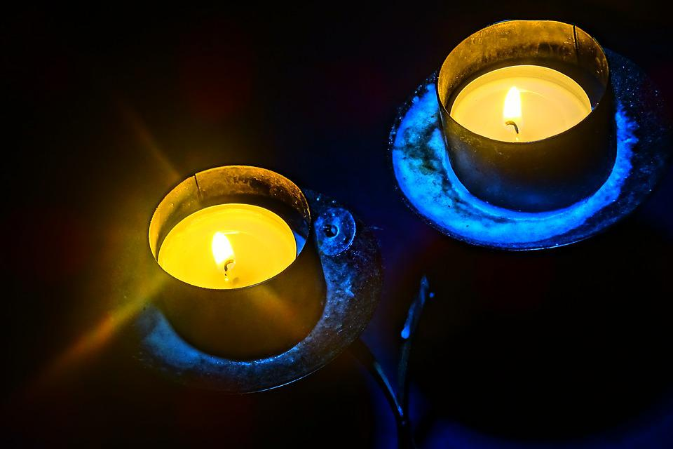 Candle Holders, Light, Flame, Darkness, Mood