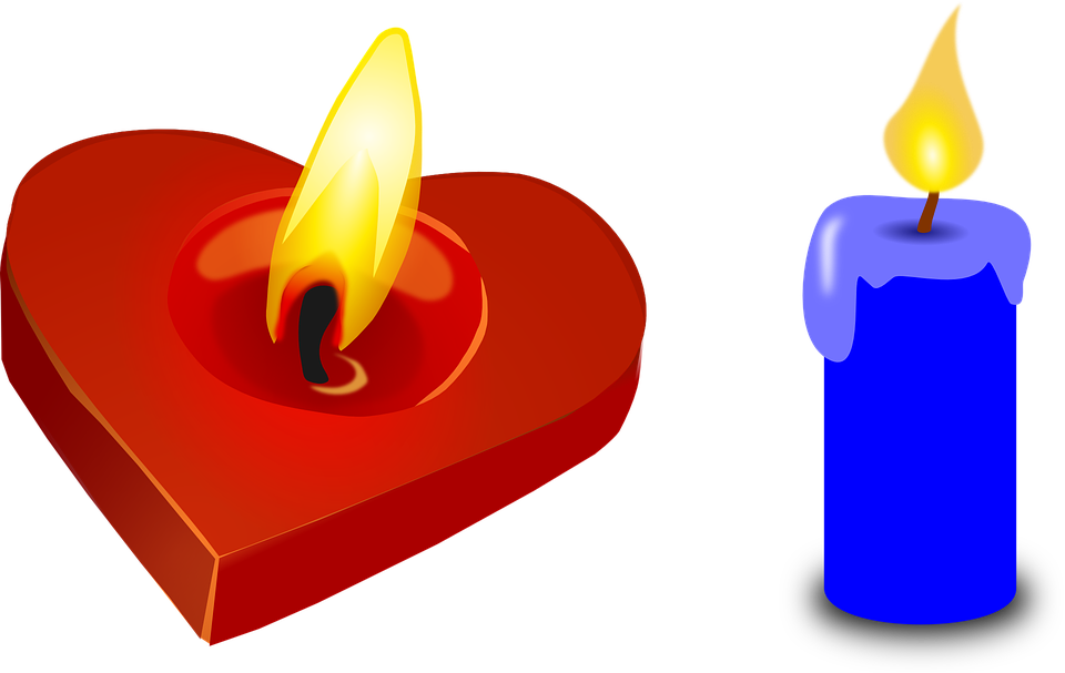 Candle, Heart, Valentine, Red, Light, Blue, Burning