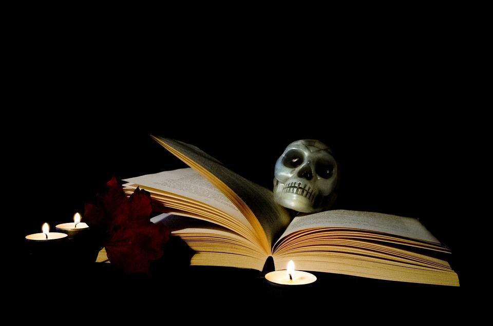 Halloween, Book, Candle, Magic, Postcard, Skull