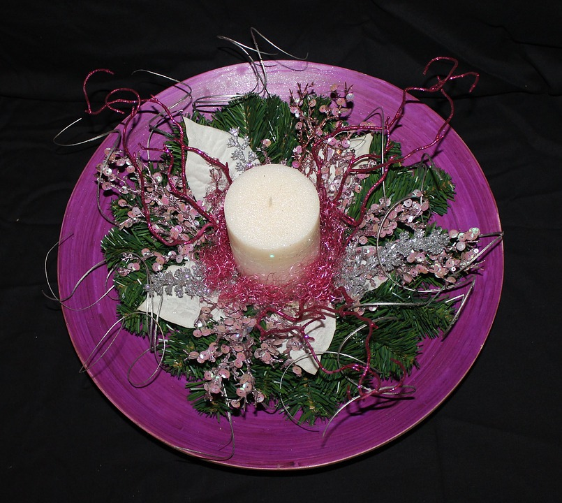 Plate, Christmas, Candle, Violet, Gifts